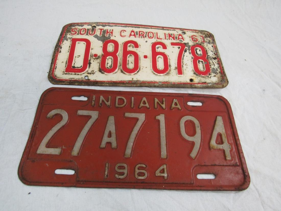 Lot of 2 1960's South Carolina and Indiana Tags