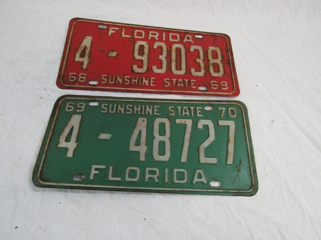 Lot of 2 1969 and 1970 Florida Tags