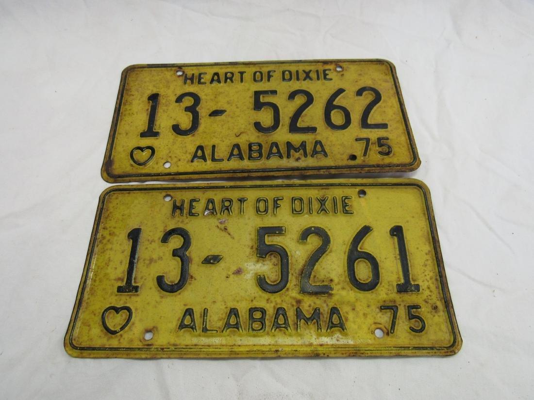 Lot of 2 Consecutive 1975 Alabama Tags