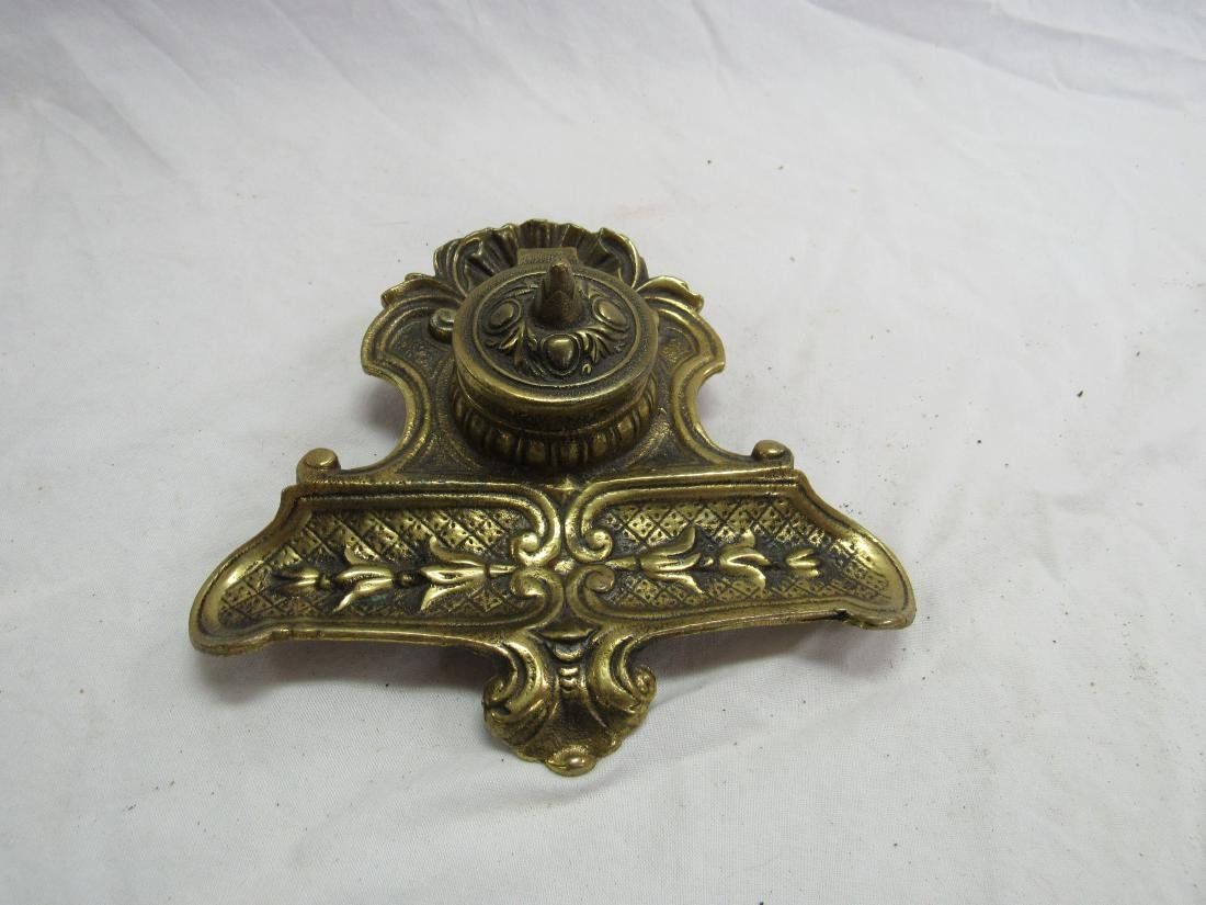 Vintage Brass Inkwell with Stonware Insert