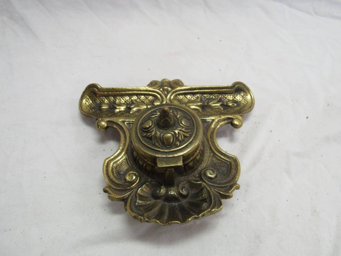 Vintage Brass Inkwell with Stonware Insert - 4