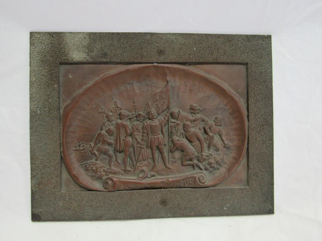 Antique Embossed Copper Art, Landing of Columbus