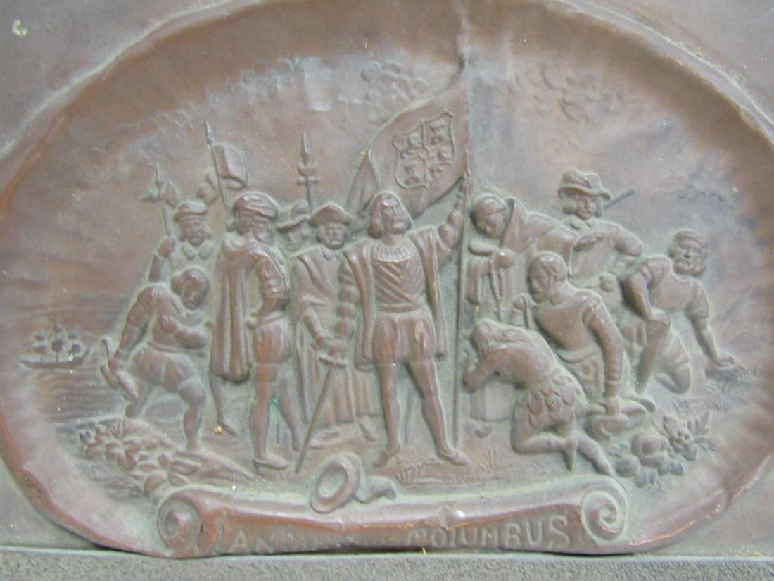 Antique Embossed Copper Art, Landing of Columbus - 2