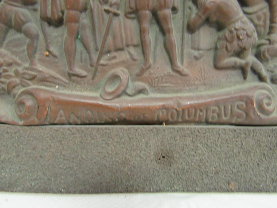Antique Embossed Copper Art, Landing of Columbus - 3