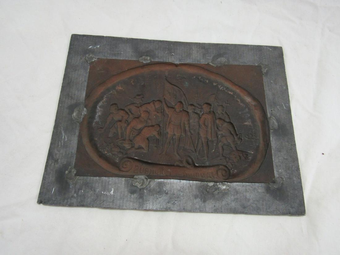 Antique Embossed Copper Art, Landing of Columbus - 4
