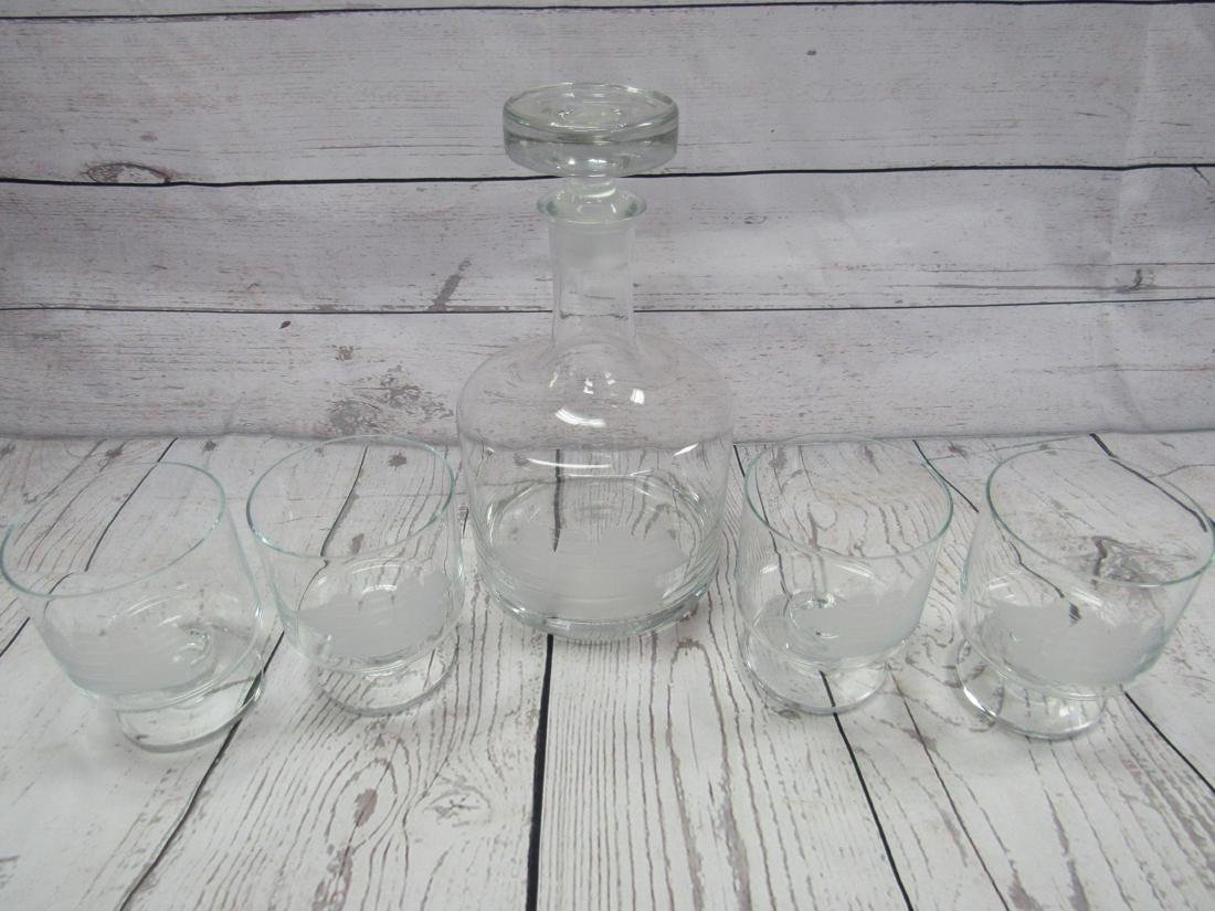 Etched Decanter and 4 Glasses