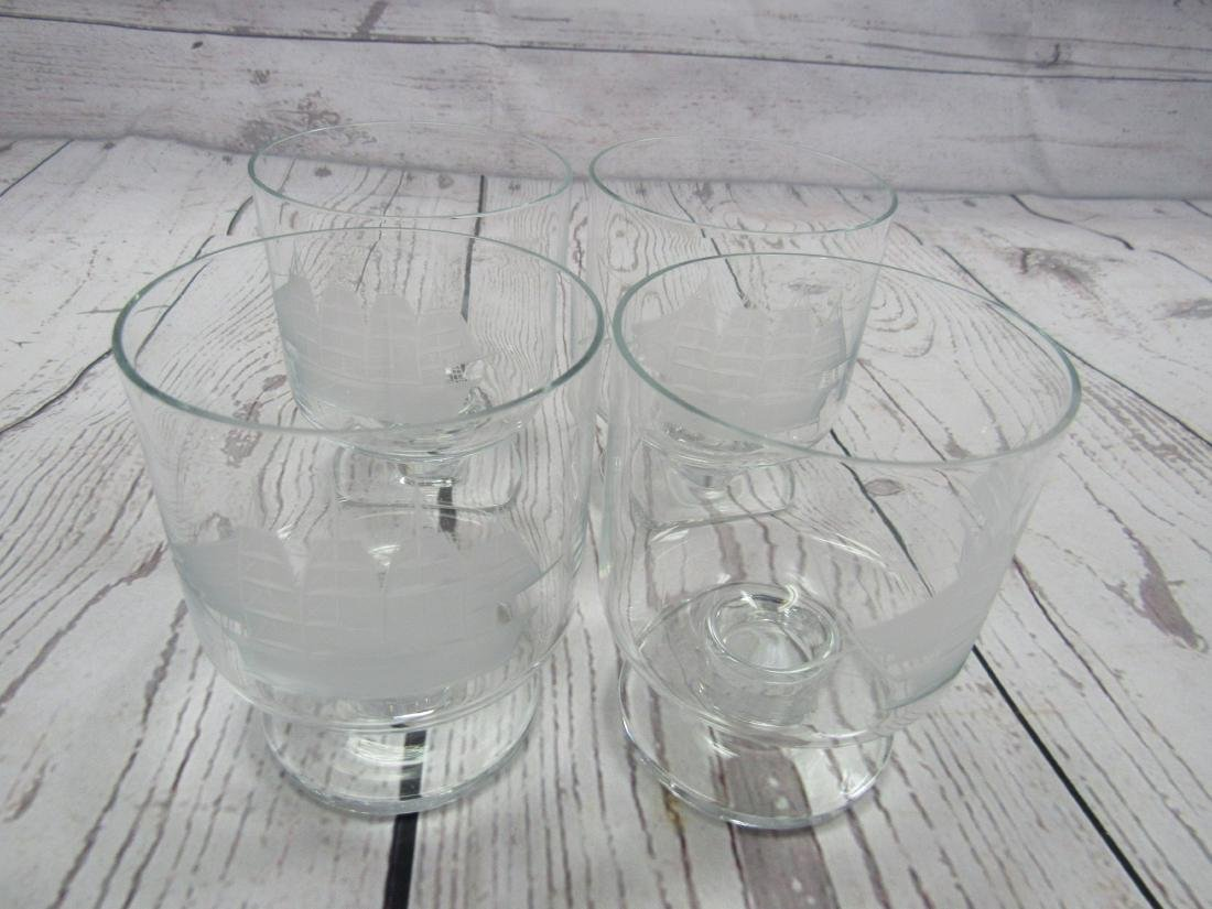 Etched Decanter and 4 Glasses - 4