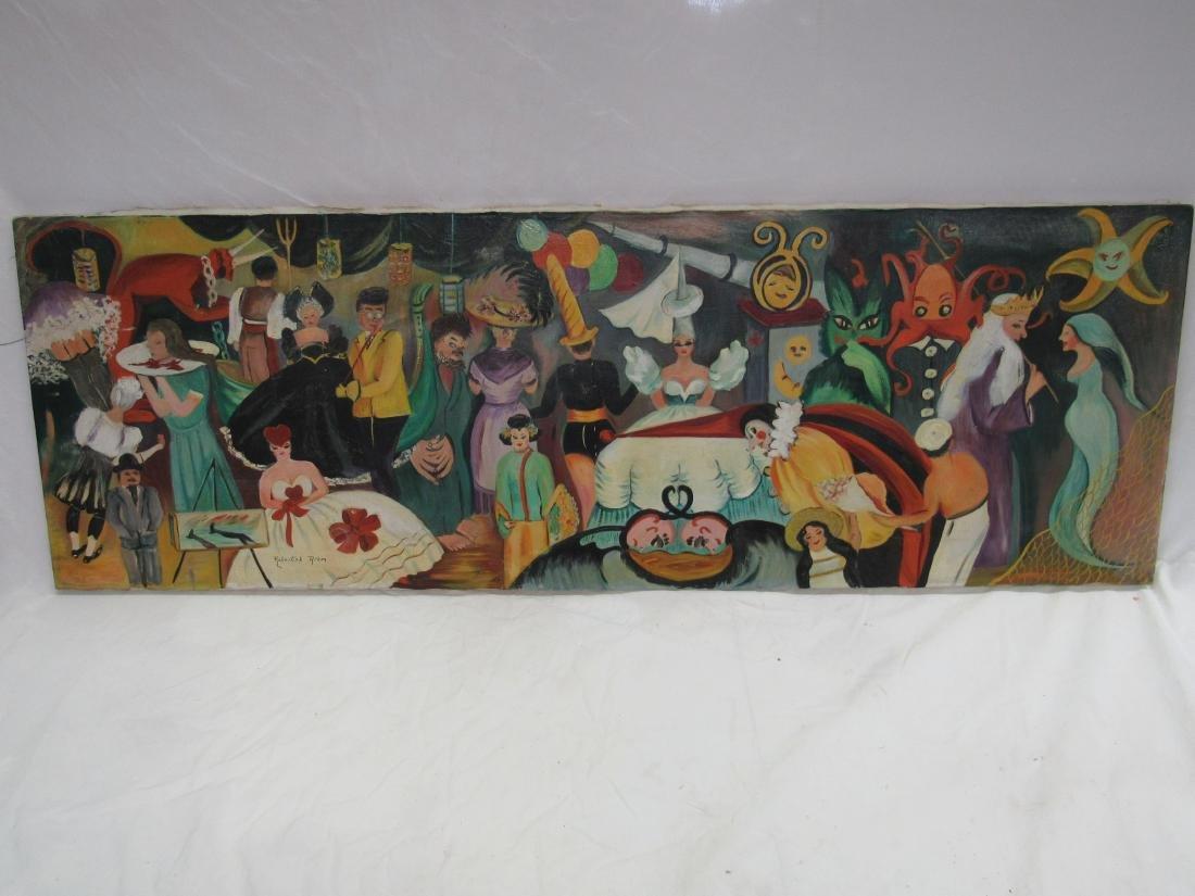 Oil on Canvas Folk Art Painting by Rebertah Rihm