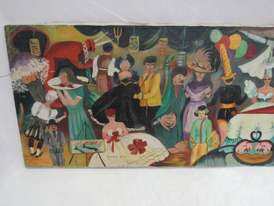 Oil on Canvas Folk Art Painting by Rebertah Rihm - 3