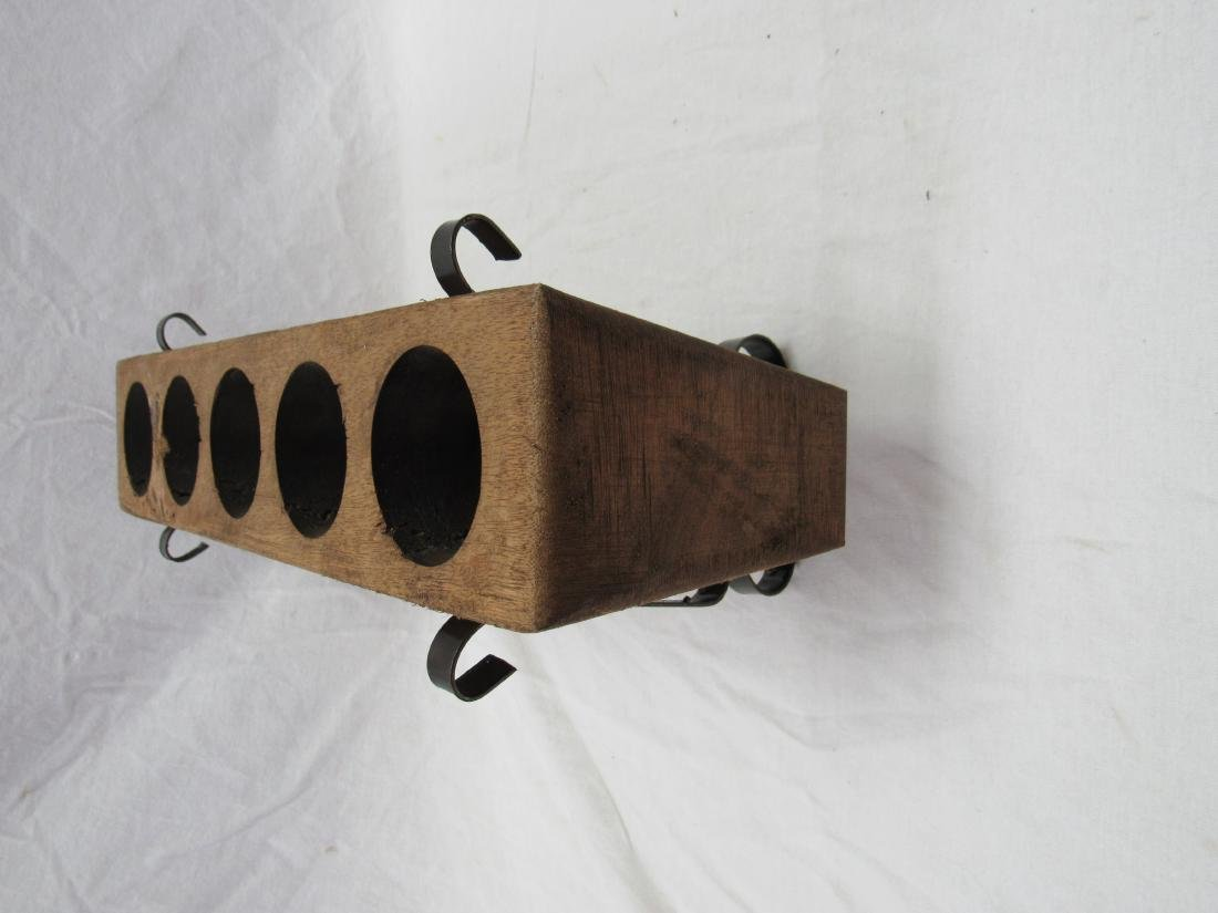 Vintage 5 Hole Sugar Mold in Metal Stand - 3