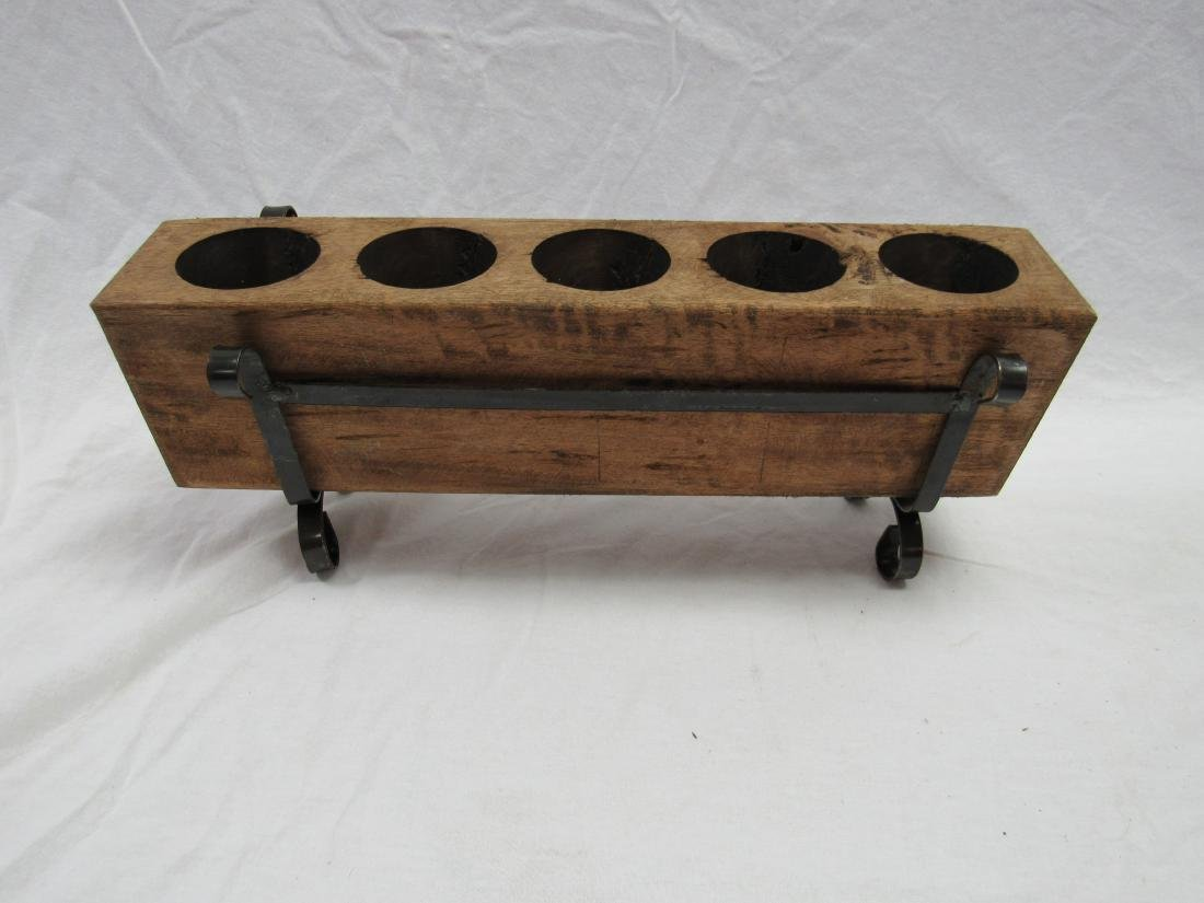 Vintage 5 Hole Sugar Mold in Metal Stand - 4