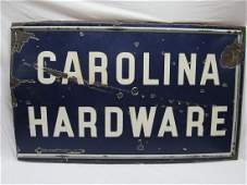 Large Early Porcelain Carolina Hardware Sign