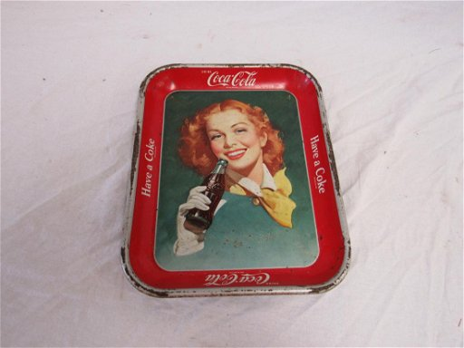 1948 Coca Cola Tray Depicting Redheaded Woman Holding a