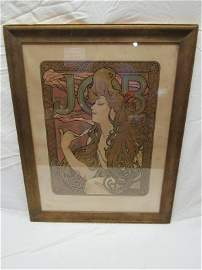 Original Alphonse Mucha JOB Advertising Poster