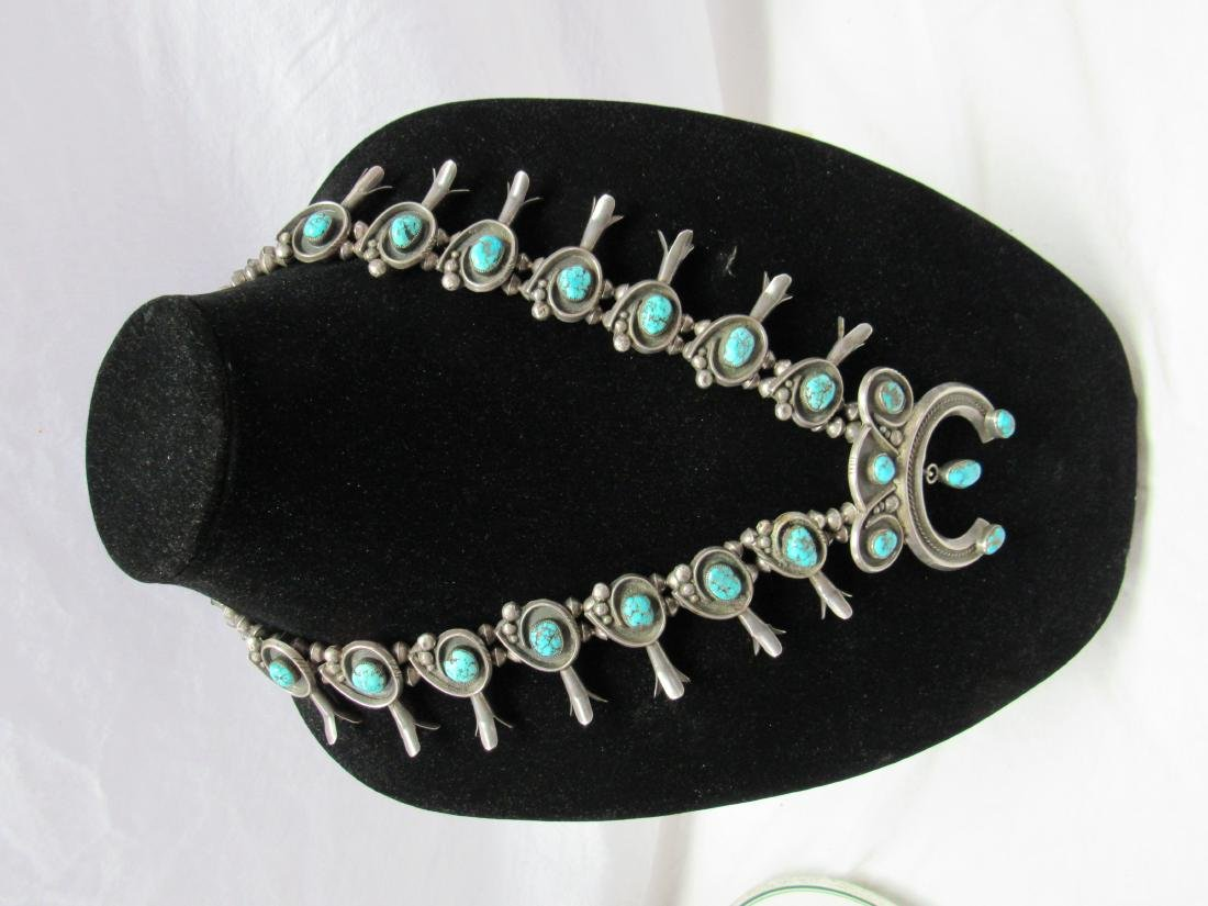 Sterling and Turquoise Navajo Squash blossom