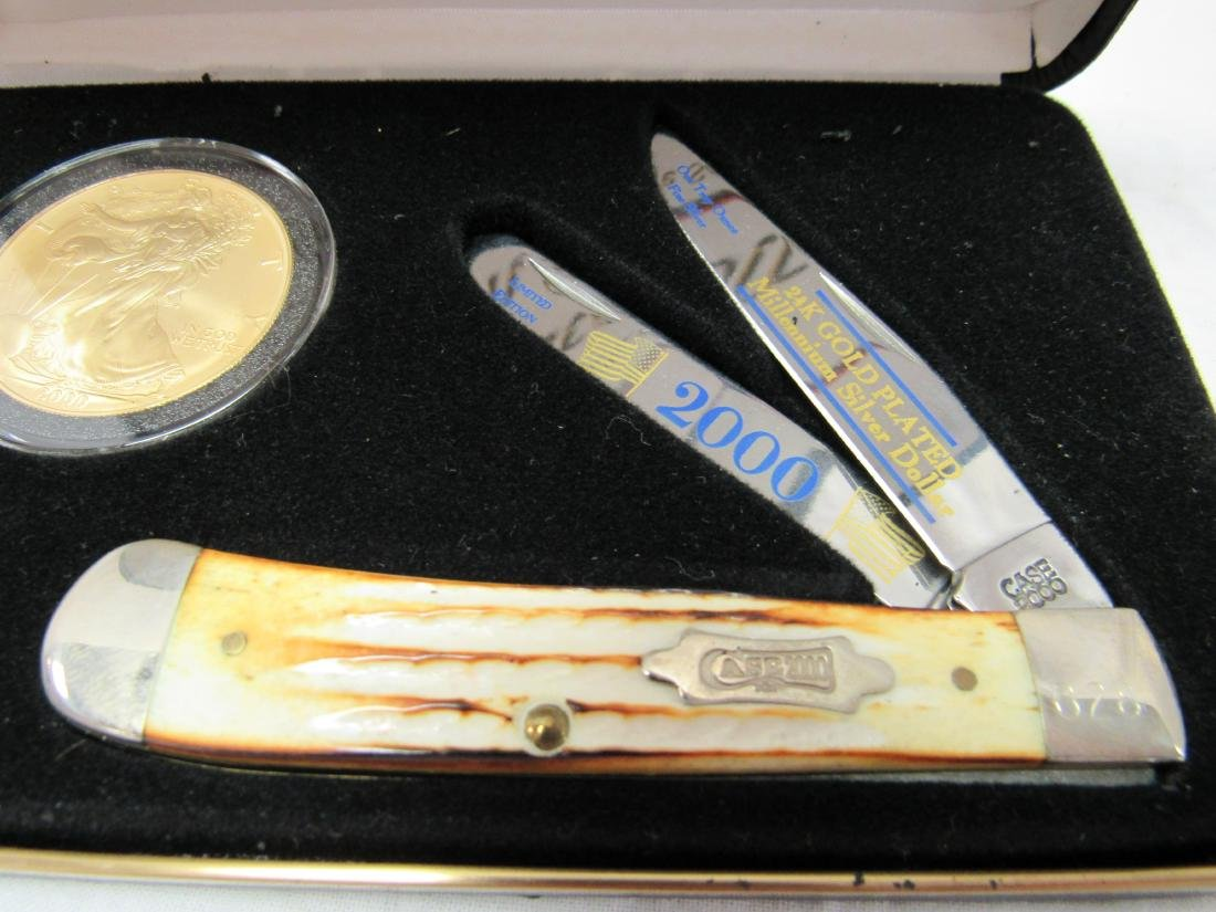 Millennium US Silver AmEagle Dollar and Case Knife Set - 2