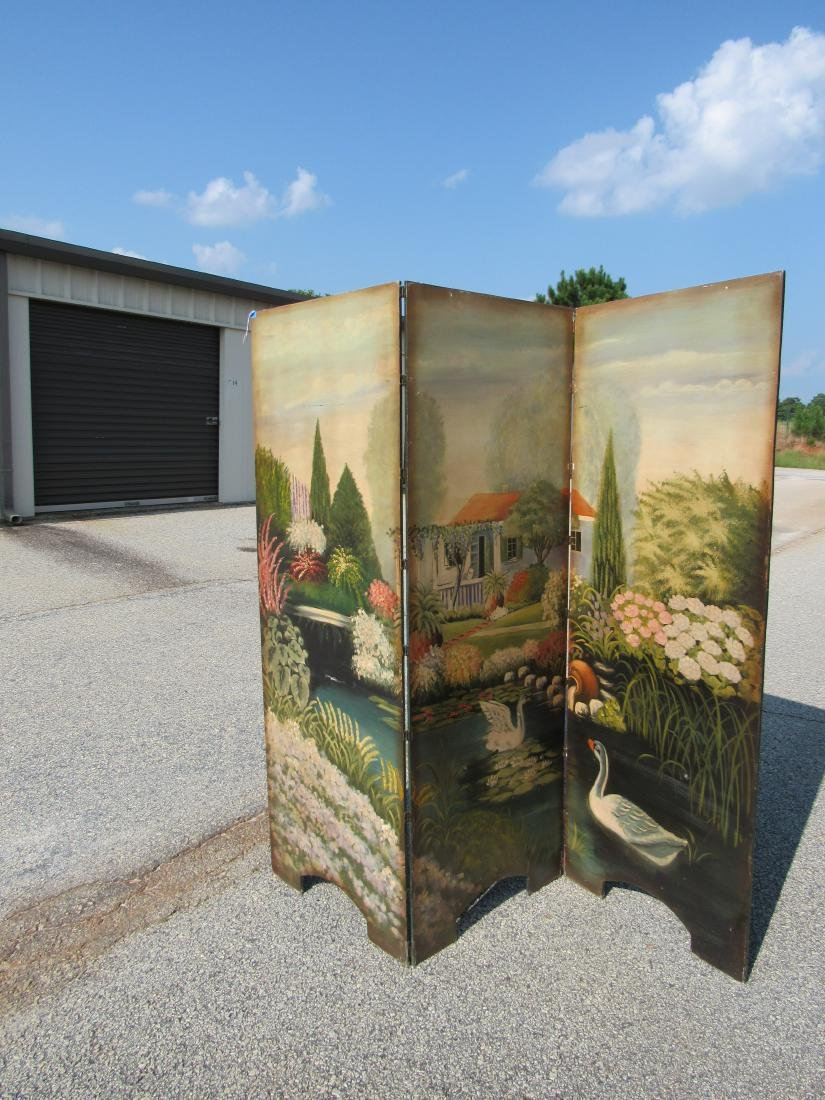 Antique Hand Painted 3 Panel Screen