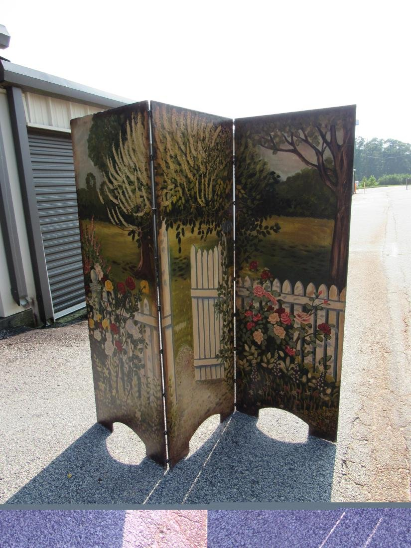Antique Hand Painted 3 Panel Screen - 2