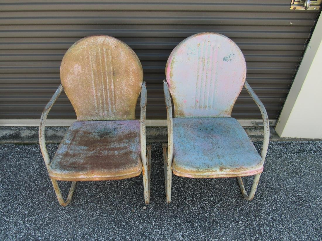 Lot of 2 Vintage Metal Chairs