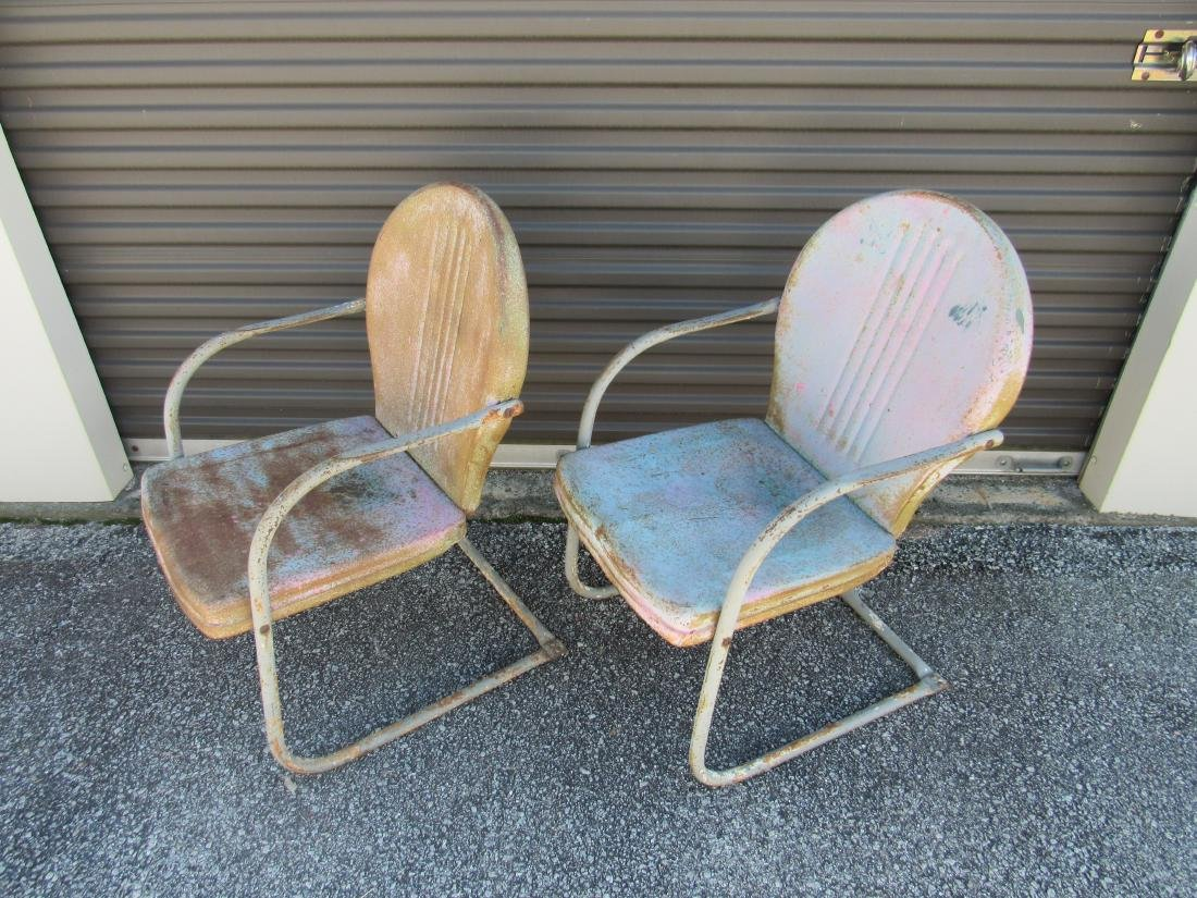 Lot of 2 Vintage Metal Chairs - 2