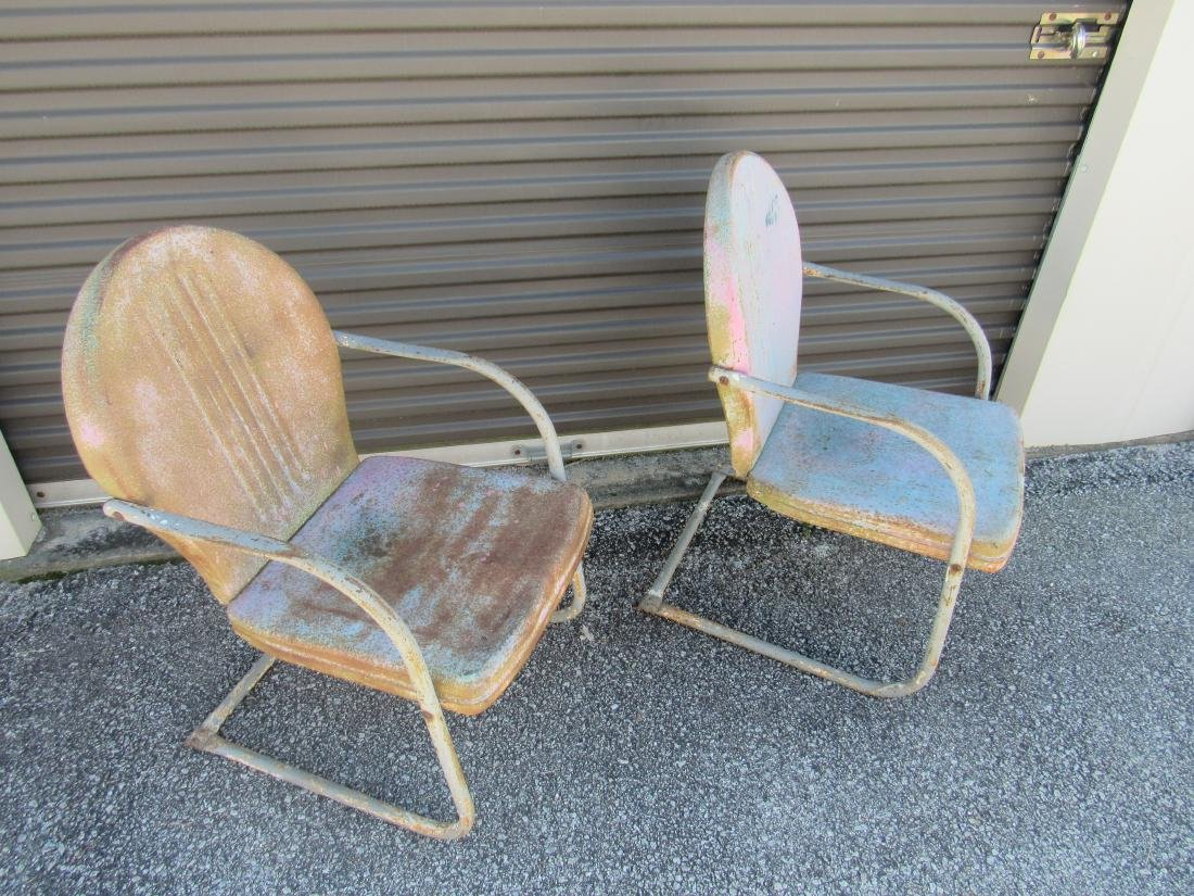 Lot of 2 Vintage Metal Chairs - 3