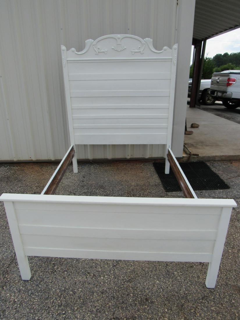 White Antique Oak High Back Bed