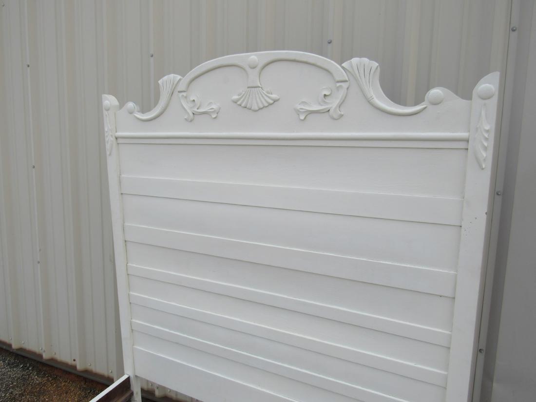 White Antique Oak High Back Bed - 2