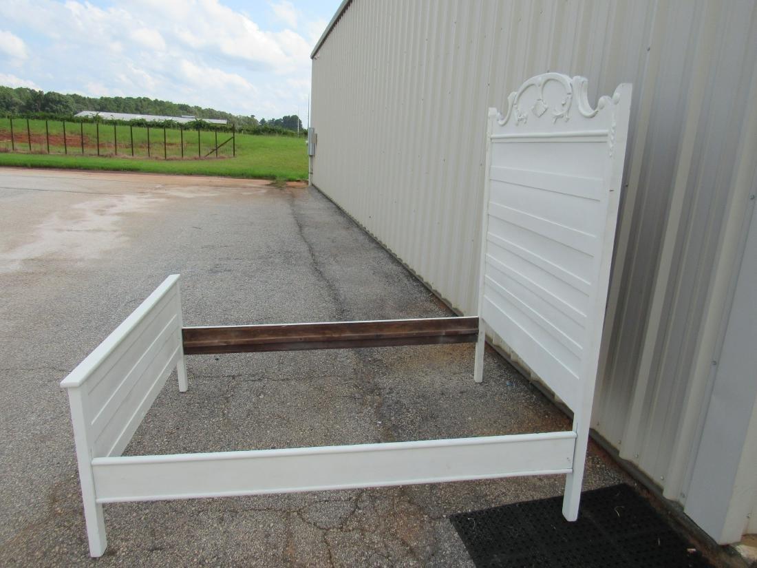 White Antique Oak High Back Bed - 3
