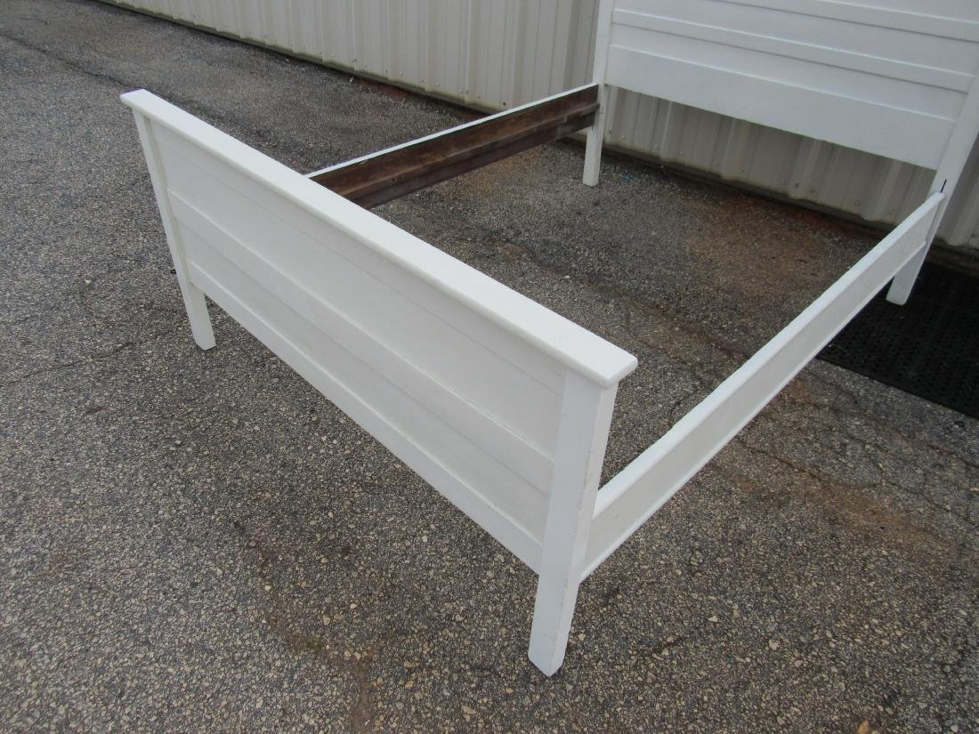 White Antique Oak High Back Bed - 4