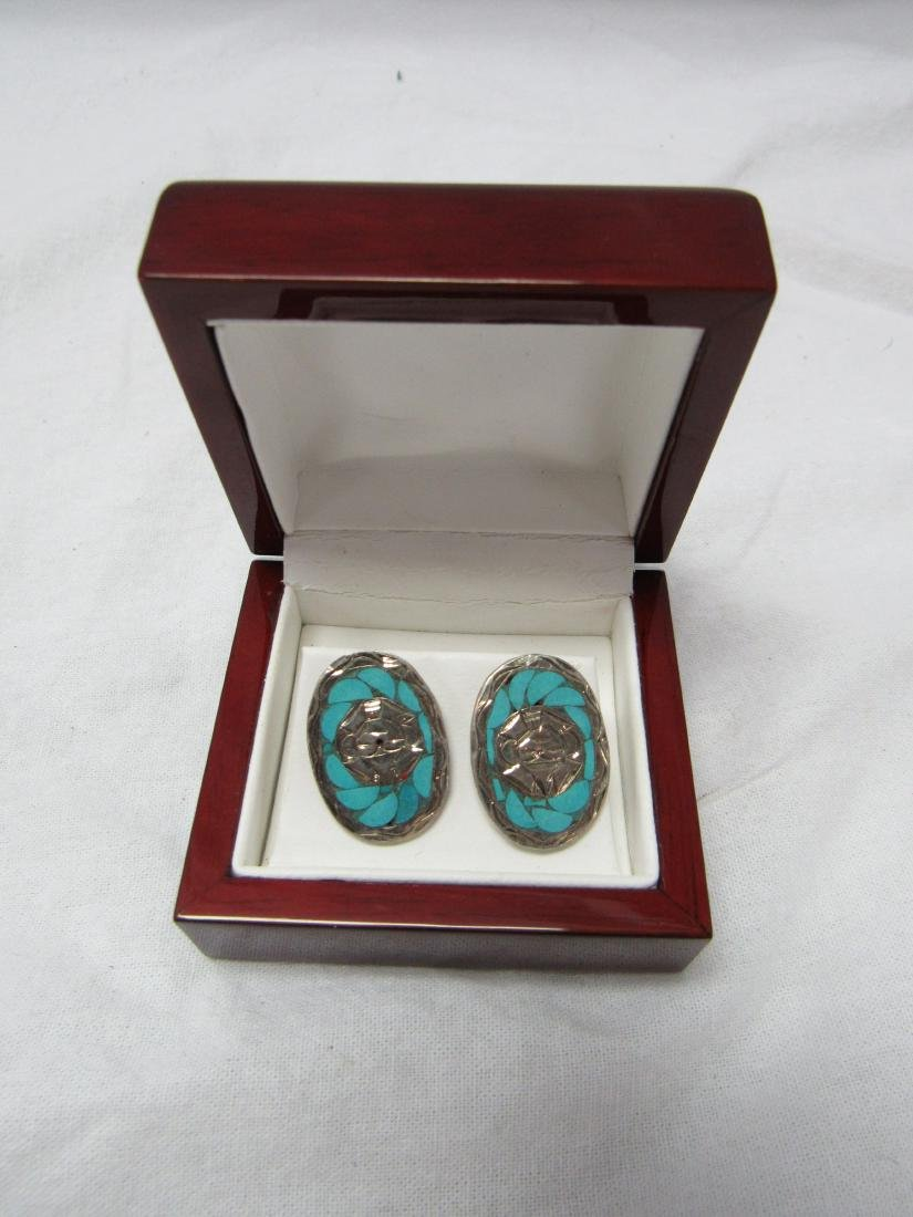 Vintage Turquoise and Sterling Earrings