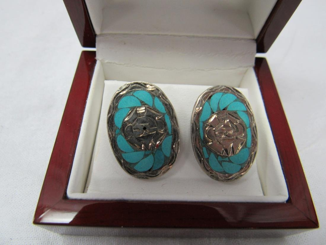 Vintage Turquoise and Sterling Earrings - 2