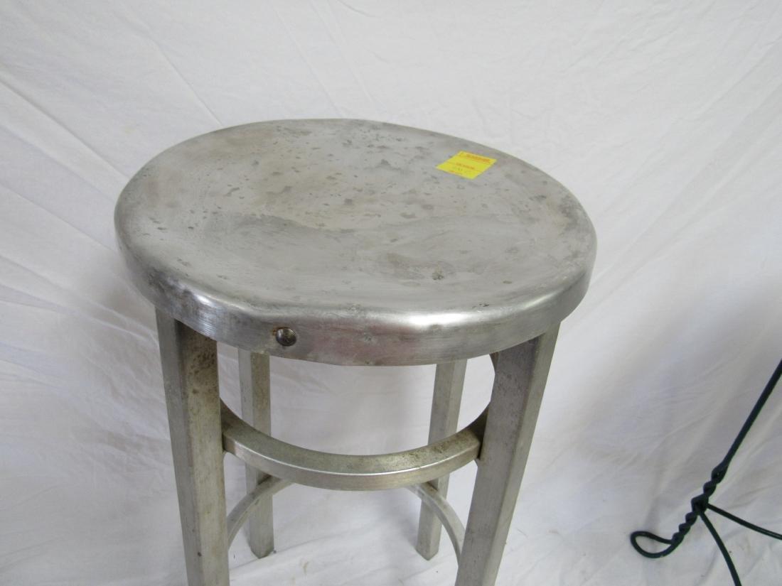 Vintage Industrial Aluminum Stool - 2