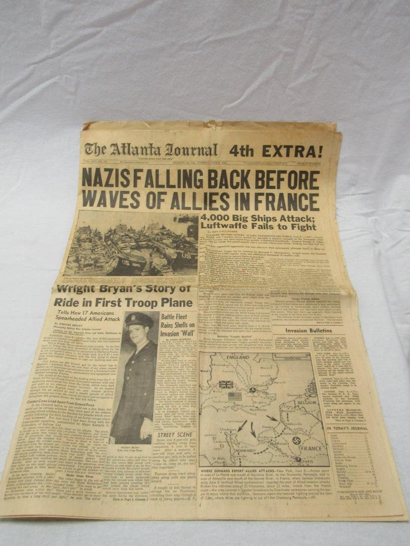 The Atlanta Journal Newspaper June 6, 1944. Headline