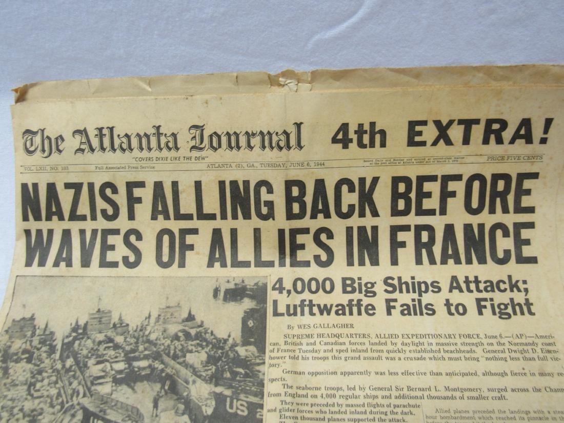 The Atlanta Journal Newspaper June 6, 1944. Headline - 2