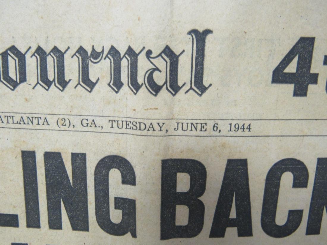 The Atlanta Journal Newspaper June 6, 1944. Headline - 3