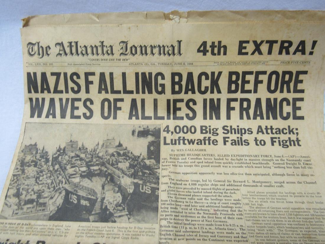 The Atlanta Journal Newspaper June 6, 1944. Headline - 4