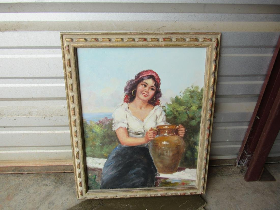 Vintage Oil on Canvas of Woman with Jug signed Mano.