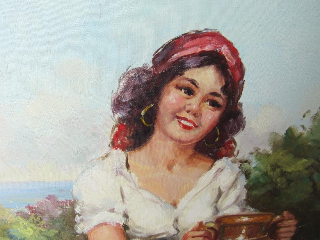 Vintage Oil on Canvas of Woman with Jug signed Mano. - 3