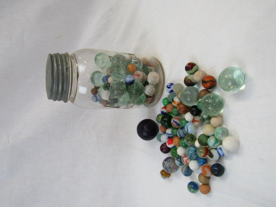 Early Atlas Mason Jar with Antique Marbles