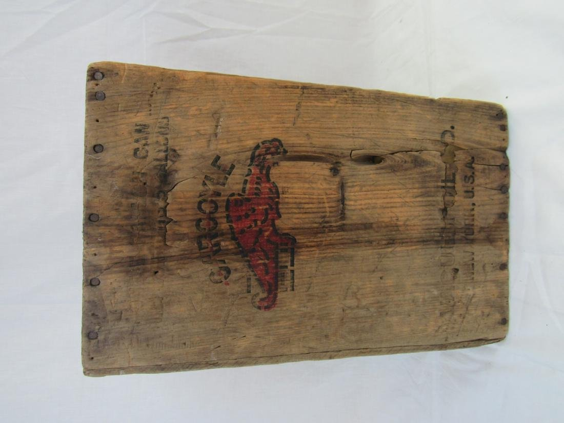 Early Gargoyle Oil Advertising Crate