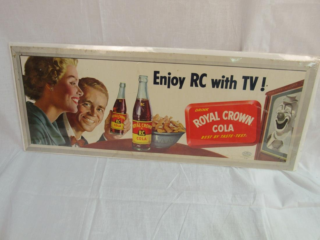 Enjoy RC with TV RC Cola Cardboard Sign