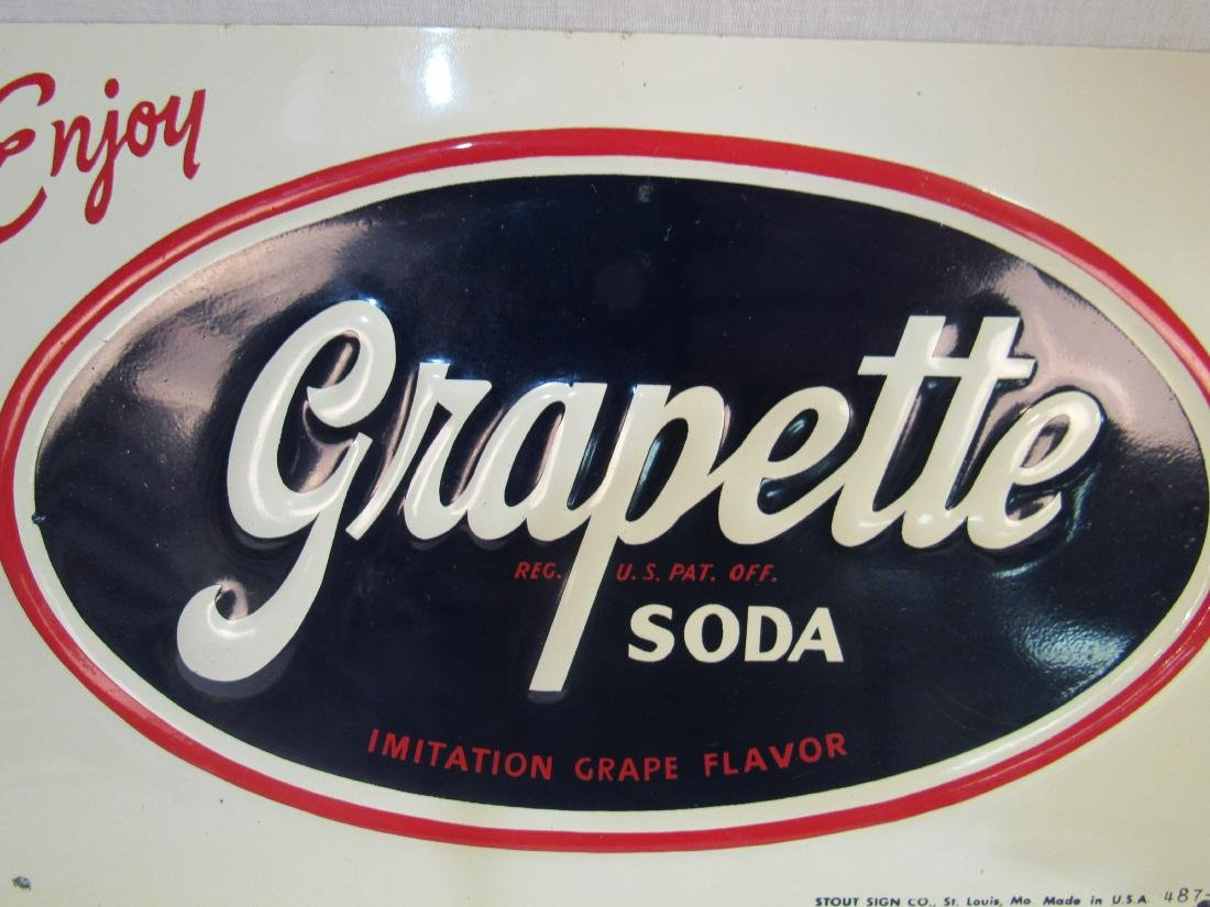 NOS Grapette Embossed Tin Sign - 2