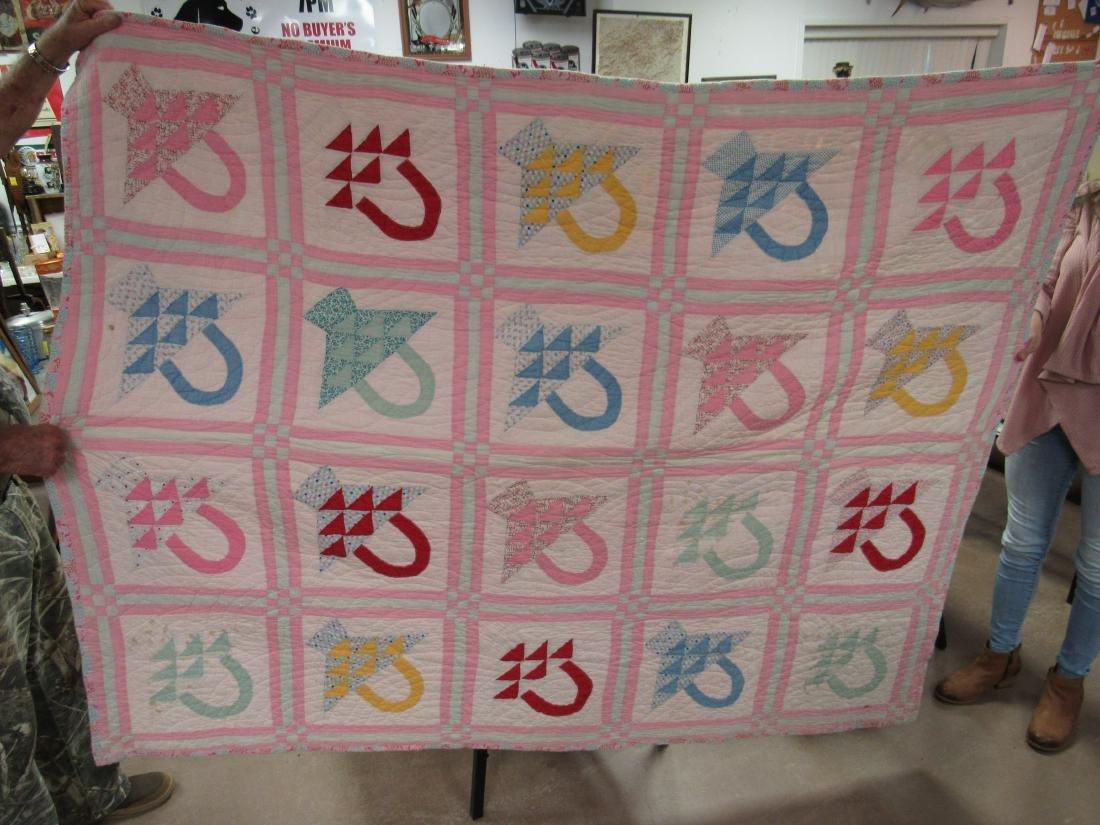 Antique Hand Stitched Quilt, Pink Baskets