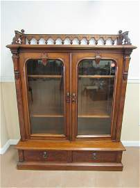Victorian Walnut Child's Bookcase Circa 1890