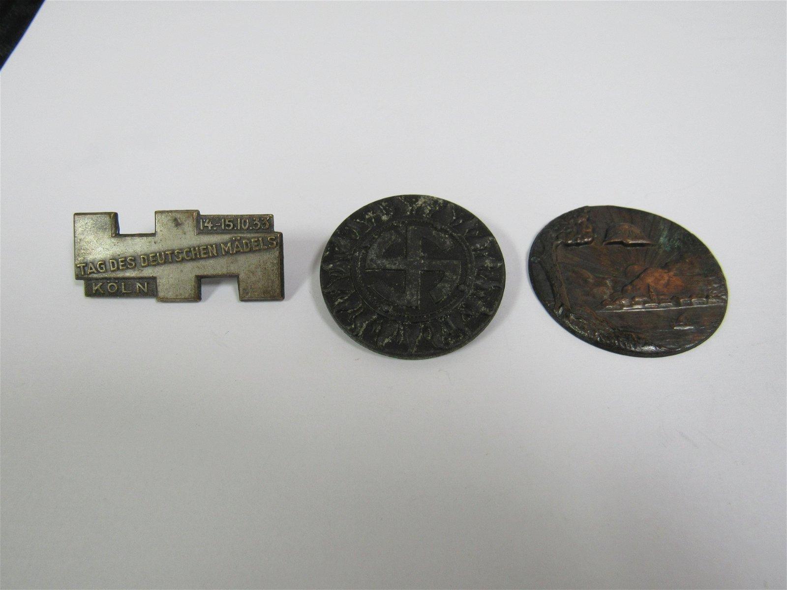 Lot of 3 WWII Nazi Germany Medals. Tag Des Deutschen