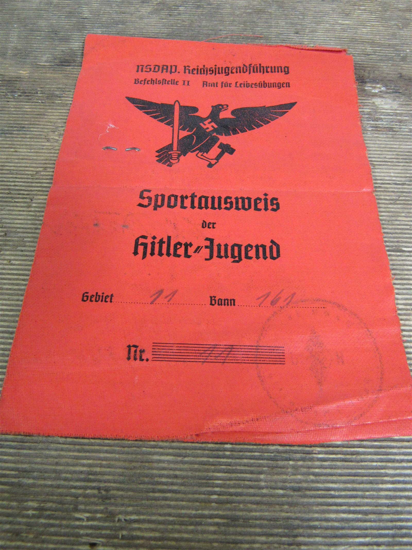 WWII Nazi Germany Hitler Youth Identification Papers
