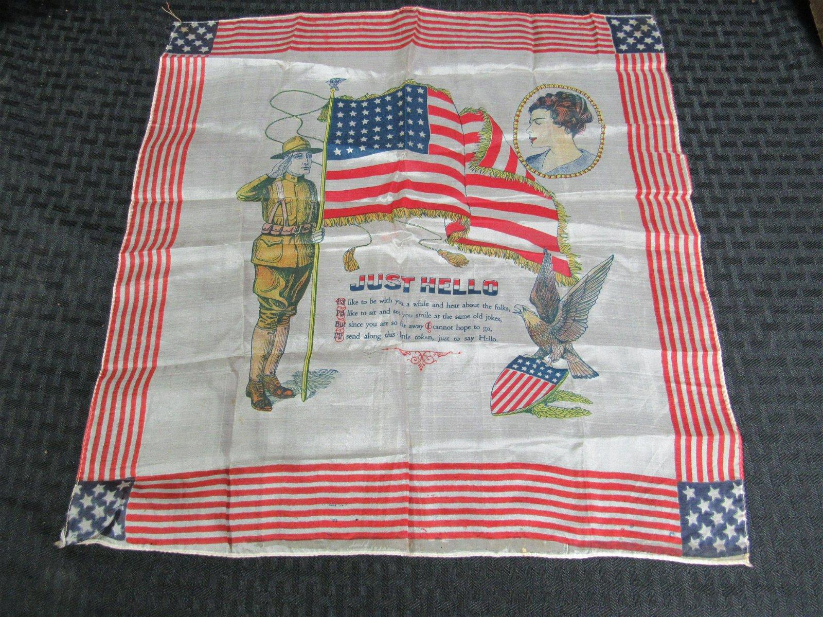 WWI Silk Patriotic Handkerchief