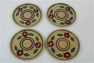 Lot of 4 Watt Pottery Plates with Pansy Design.