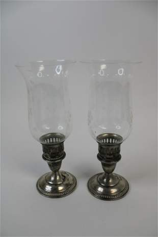 Lot of 2 Weighted Sterling Silver Candlestick Holders
