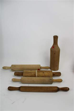 Lot of 5 Vintage Wooden Rolling Pins.